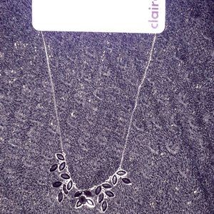Claire's New Dark Silver Necklace with Rhinestones